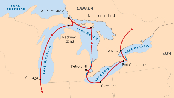 Lakes Of Canada Map.Small Ship Cruises On The Great Lakes Road Scholar