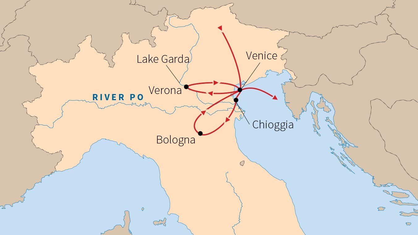 Map Of Italy Showing Bologna.Riverboat Travel In Italy Road Scholar