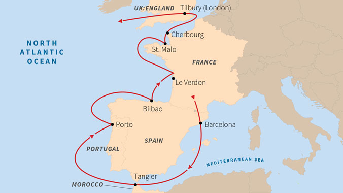 Map Of Portugal Spain France.Odyssey At Sea Iberia France Morocco