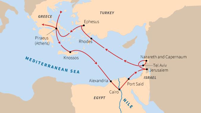 Tel Aviv Jerusalem Karte.Odyssey At Sea Greece Ephesus Israel And Egypt