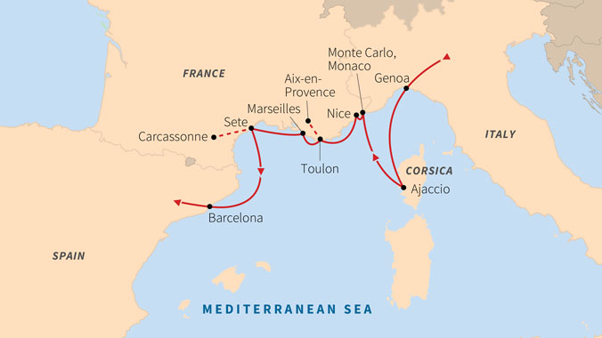 Road Map Of France And Italy.Odyssey At Sea From Provence The French Riviera To Barcelona