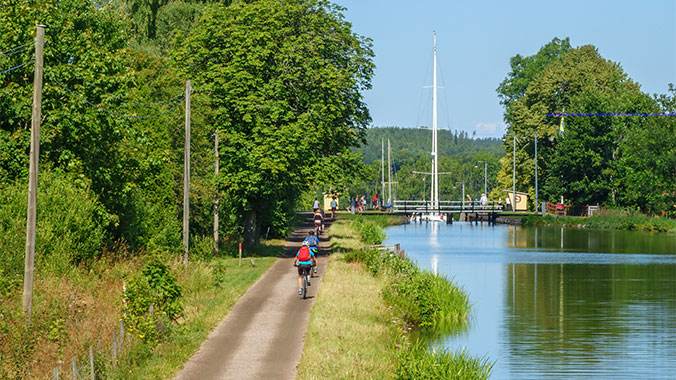 Biking Gota Canal in Sweden